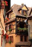 γαλλικό χωριό της Αλσατία στοκ φωτογραφία με δικαίωμα ελεύθερης χρήσης