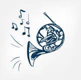 Γαλλικό όργανο μουσικής σχεδίου γραμμών σκίτσων κέρατων ελεύθερη απεικόνιση δικαιώματος