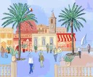 γαλλικό riviera πόλεων διανυσματική απεικόνιση