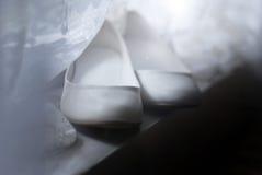 Γαμήλια άσπρα παπούτσια Στοκ Εικόνα