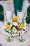 Γαμήλια γυαλιά για το κρασί Στοκ εικόνες με δικαίωμα ελεύθερης χρήσης