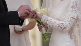 Γαμήλια δαχτυλίδια ένδυσης νεόνυμφων και νυφών ο ένας στον άλλο απόθεμα βίντεο
