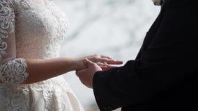 Γαμήλια δαχτυλίδια ανταλλαγής νυφών και νεόνυμφων φιλμ μικρού μήκους