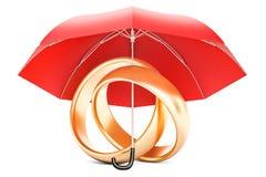 Γαμήλια δαχτυλίδια κάτω από την ομπρέλα, προστασία της έννοιας γάμου τρισδιάστατος απεικόνιση αποθεμάτων