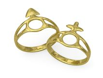 Γαμήλια δαχτυλίδια με τα αρσενικά και θηλυκά σύμβολα Στοκ εικόνα με δικαίωμα ελεύθερης χρήσης