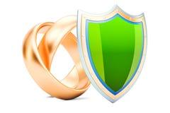 Γαμήλια δαχτυλίδια με την ασπίδα, προστασία της έννοιας γάμου τρισδιάστατος σχετικά με διανυσματική απεικόνιση