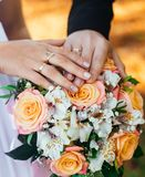 Γαμήλια δαχτυλίδια, που δημιουργούν μια νέα οικογένεια, γαμήλια έννοια Στοκ Εικόνα