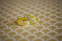 Γαμήλια δαχτυλίδια, γαμήλια δαχτυλίδια στη ημέρα γάμου Στοκ Εικόνες