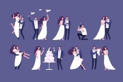 Γαμήλια ζεύγη Νύφη και νεόνυμφος στην τελετή γάμου Γάμος του απομονωμένου χαρακτήρες συνόλου ανθρώπων απεικόνιση αποθεμάτων