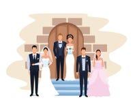 Γαμήλια ζεύγη στο παρεκκλησι πορτών απεικόνιση αποθεμάτων