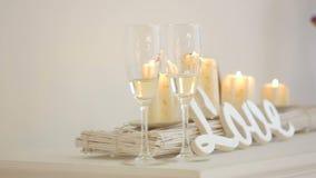 Γαμήλια ντεκόρ και κεριά απόθεμα βίντεο