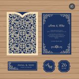 Γαμήλια πρόσκληση ή ευχετήρια κάρτα με την εκλεκτής ποιότητας διακόσμηση Ελεύθερη απεικόνιση δικαιώματος
