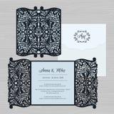 Γαμήλια πρόσκληση ή ευχετήρια κάρτα με την εκλεκτής ποιότητας διακόσμηση Έγγραφο Απεικόνιση αποθεμάτων