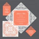 Γαμήλια πρόσκληση ή ευχετήρια κάρτα με την εκλεκτής ποιότητας διακόσμηση Έγγραφο Διανυσματική απεικόνιση