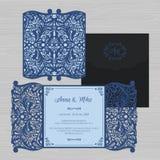 Γαμήλια πρόσκληση ή ευχετήρια κάρτα με την εκλεκτής ποιότητας διακόσμηση Έγγραφο Ελεύθερη απεικόνιση δικαιώματος