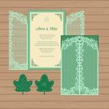 Γαμήλια πρόσκληση ή ευχετήρια κάρτα με την πύλη και τον κισσό Έγγραφο Διανυσματική απεικόνιση