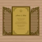 Γαμήλια πρόσκληση ή ευχετήρια κάρτα με την πύλη και τον κισσό Έγγραφο Ελεύθερη απεικόνιση δικαιώματος