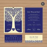 Γαμήλια πρόσκληση ή ευχετήρια κάρτα με το δέντρο Δαντέλλα εγγράφου Διανυσματική απεικόνιση