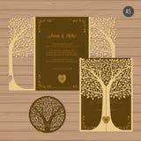 Γαμήλια πρόσκληση ή ευχετήρια κάρτα με το δέντρο Δαντέλλα εγγράφου Απεικόνιση αποθεμάτων