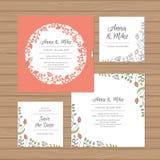 Γαμήλια πρόσκληση ή ευχετήρια κάρτα με το στεφάνι λουλουδιών Διανυσματική απεικόνιση