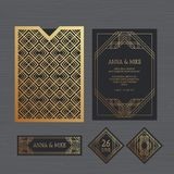Γαμήλια πρόσκληση ή ευχετήρια κάρτα πολυτέλειας με γεωμετρικό Διανυσματική απεικόνιση