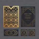 Γαμήλια πρόσκληση ή ευχετήρια κάρτα πολυτέλειας με γεωμετρικό Απεικόνιση αποθεμάτων