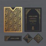 Γαμήλια πρόσκληση ή ευχετήρια κάρτα πολυτέλειας με γεωμετρικό Ελεύθερη απεικόνιση δικαιώματος