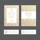 Γαμήλια πρόσκληση ή ευχετήρια κάρτα πολυτέλειας με τον εκλεκτής ποιότητας χρυσό orn ελεύθερη απεικόνιση δικαιώματος