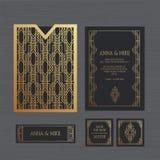 Γαμήλια πρόσκληση ή ευχετήρια κάρτα πολυτέλειας με το γεωμετρικό orname Απεικόνιση αποθεμάτων