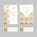 Γαμήλια πρόσκληση ή ευχετήρια κάρτα πολυτέλειας με το γεωμετρικό orname ελεύθερη απεικόνιση δικαιώματος