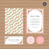 Γαμήλια πρόσκληση ή πρότυπο ευχετήριων καρτών με το λουλούδι Διανυσματική απεικόνιση