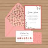 Γαμήλια πρόσκληση, κάρτα υπόδειξης ως προς το χρόνο και φάκελος με floral Απεικόνιση αποθεμάτων
