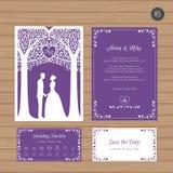 Γαμήλια πρόσκληση με τη νύφη και το νεόνυμφο, και δέντρο Δαντέλλα εγγράφου Απεικόνιση αποθεμάτων