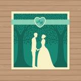 Γαμήλια πρόσκληση με τη νύφη και το νεόνυμφο, και δέντρο Δαντέλλα εγγράφου Ελεύθερη απεικόνιση δικαιώματος