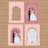 Γαμήλια πρόσκληση με τη νύφη και το νεόνυμφο στο υπόβαθρο Απεικόνιση αποθεμάτων