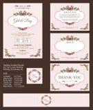 Γαμήλια πρόσκληση, με τις floral ανθοδέσμες και το σχέδιο στεφανιών διανυσματική απεικόνιση