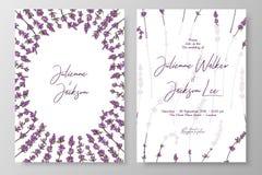Γαμήλια πρόσκληση με lavenders Τα πρότυπα καρτών για εκτός από την ημερομηνία, ευχαριστούν εσείς λαναρίζουν, ο γάμος προσκαλεί, ε ελεύθερη απεικόνιση δικαιώματος