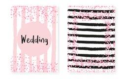 Γαμήλια πρόσκληση που τίθεται με τα σημεία και τα τσέκια Οι νυφικές κάρτες ντους με το ροζ ακτινοβολούν κομφετί ελεύθερη απεικόνιση δικαιώματος