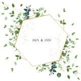 Γαμήλια πρόσκληση πρασινάδων ιαπωνικό watercolor ύφους απεικόνισης μπαμπού ελεύθερη απεικόνιση δικαιώματος