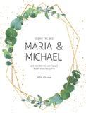 Γαμήλια πρόσκληση πρασινάδων απεικόνιση αποθεμάτων