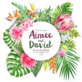 Γαμήλια πρόσκληση στο στρογγυλό έμβλημα εγγράφου πέρα από τα τροπικά φύλλα και τα λουλούδια απεικόνιση αποθεμάτων