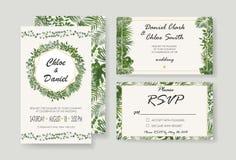 Γαμήλια πρόσκληση, rsvp σύγχρονο σχέδιο καρτών Διανυσματικός φυσικός, BOT απεικόνιση αποθεμάτων