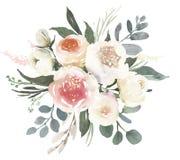 Γαμήλια floral ανθοδέσμη Watercolor με τα άσπρα τριαντάφυλλα α απεικόνιση αποθεμάτων