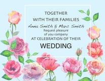 Γαμήλιος διανυσματικός floral προσκαλεί την πρόσκληση σας ευχαριστεί, σχέδιο watercolor καρτών Στοκ Φωτογραφίες