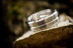 Γαμήλιο δαχτυλίδι διαμαντιών ασημιών ή λευκόχρυσου στοκ εικόνες με δικαίωμα ελεύθερης χρήσης