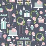 Γαμήλιο διανυσματικό άνευ ραφής σχέδιο με το κέικ και τα λουλούδια στοκ εικόνες