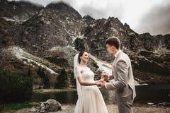 Γαμήλιο ζεύγος που περπατά και που κρατά τα χέρια στην ακτή λιμνών Ηλιόλουστη ημέρα στα βουνά Tatra στοκ φωτογραφίες