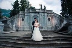 Γαμήλιο ζεύγος στα σκαλοπάτια στο πάρκο στοκ φωτογραφίες