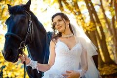 Γαμήλιο πορτρέτο κινηματογραφήσεων σε πρώτο πλάνο της αρκετά καλής νύφης brunette που χαμογελά και που θέτει tenderly με το άλογο στοκ εικόνα με δικαίωμα ελεύθερης χρήσης