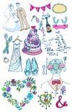 Γαμήλιο σύνολο χαριτωμένων γοητευτικών doodles Στοκ Φωτογραφίες